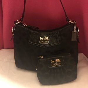 Coach Matching Logo and Leather Bag and Coin Purse